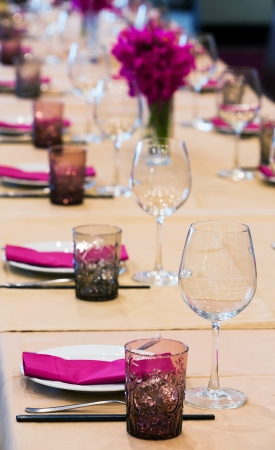 Elegance table set up for dinning room photo