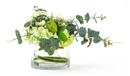 Bouquet of cosmos and eucalyptus in glass vase isolated on white photo