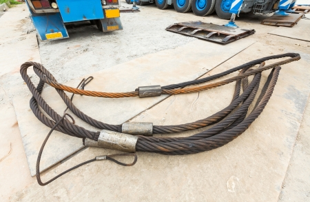 Heavy duty steel wire rope sling in construction site photo