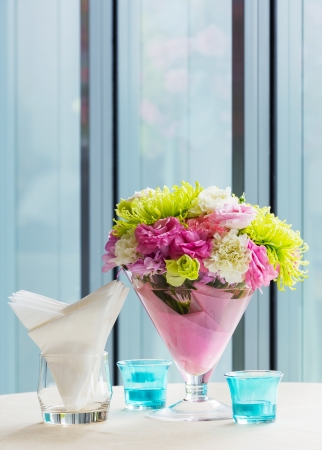 Close up beautiful flower bouquet decoration on cocktail table Stock Photo - 21372647