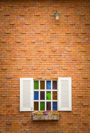 White windows on red color brick wall Stock Photo - 21372795