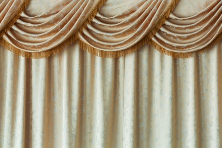 Close up yellow color elegance curtain background photo
