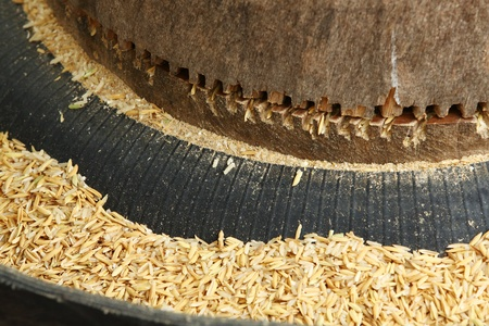 Close up mini rice mill for home use in Thailand photo