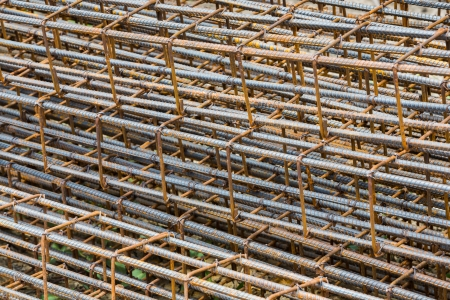 Close up rusty rebar texture in construction site photo