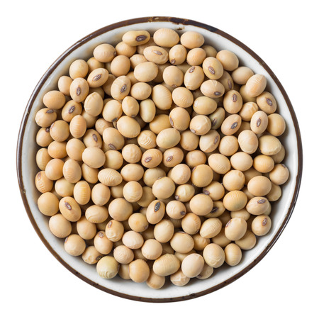 Close up soy bean in ceramic dish isolated on white - with path photo