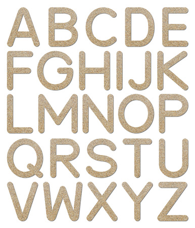 Font rough gravel texture alphabet A to Z with shadow photo