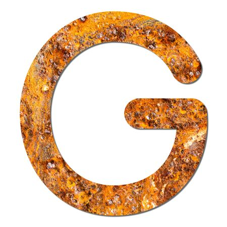 Font rusty steel texture alphabet G with shadow and path photo