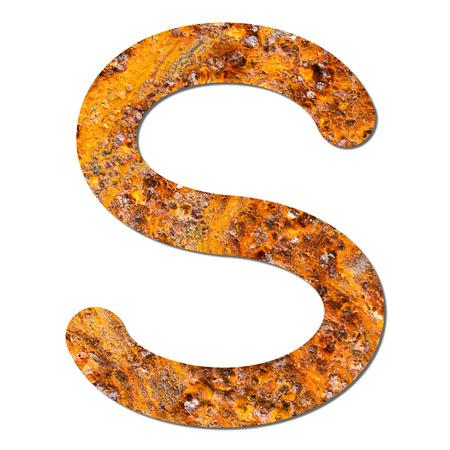 alphabet s: Fuente de acero oxidado textura alfabeto S con sombra y el camino