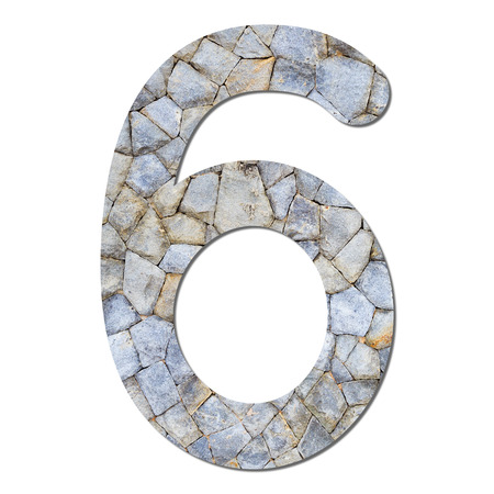 Font stone wall texture numeric 6 with shadow and path photo