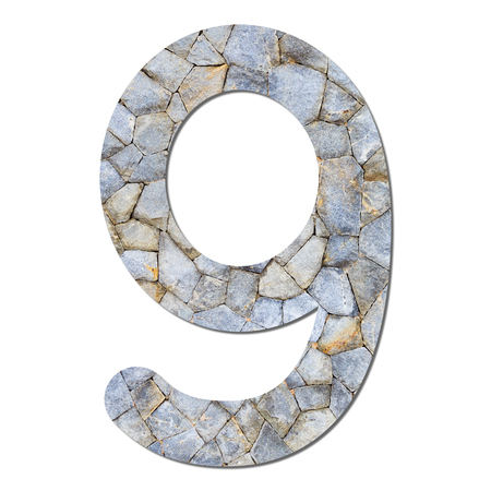 Font stone wall texture numeric 9 with shadow and path photo