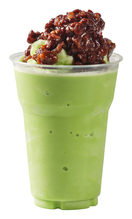 frappe: Close up Red bean Milk Green tea smoothie in plastic cup isolated on white - with path
