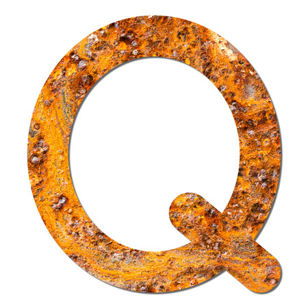 Font rusty steel texture alphabet Q with shadow and path photo