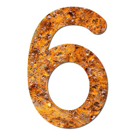 Font rusty steel texture numeric six 6 with shadow and path photo
