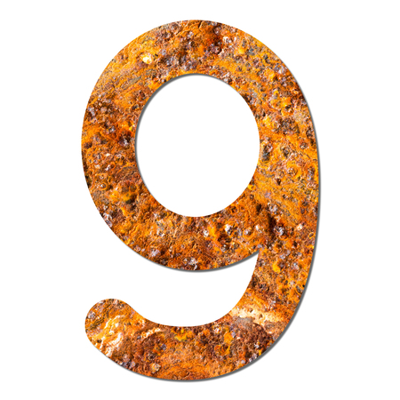 Font rusty steel texture numeric nine 9 with shadow and path photo