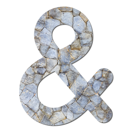 Font stone wall texture Ampersand sign with shadow and path photo