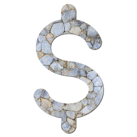 Font stone wall texture US Dollar sign with shadow and path photo