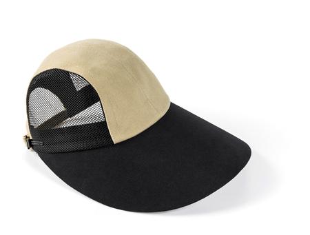 cream colour: Primo piano a tesa larga con maglia nera e berretto color crema isolato su bianco