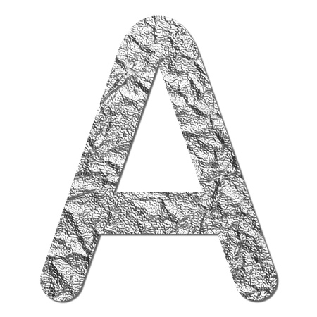 Font aluminum foil texture alphabet A with shadow and path photo