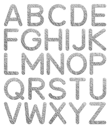 Font aluminum foil texture alphabet A to Z with shadow photo