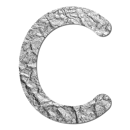 Font aluminum foil texture alphabet C with shadow and path photo