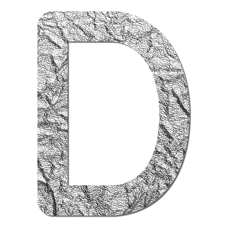 Font aluminum foil texture alphabet D with shadow and path photo