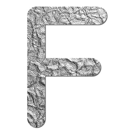 Font aluminum foil texture alphabet F with shadow and path photo