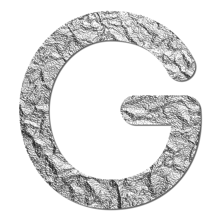 Font aluminum foil texture alphabet G with shadow and path photo