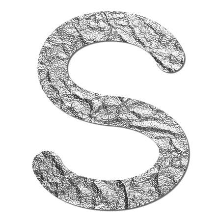 alphabet s: Aluminio Fuente l�mina textura alfabeto S con sombra y el camino