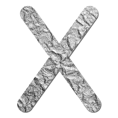 Font aluminum foil texture alphabet X with shadow and path photo
