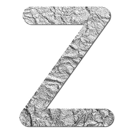 Font aluminum foil texture alphabet Z with shadow and path
