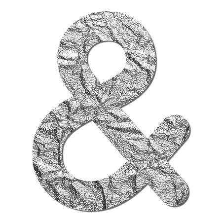 Font aluminum foil texture Ampersand sign with shadow photo