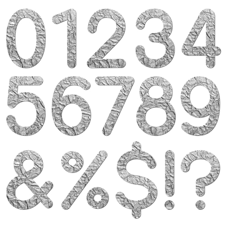 Font aluminum foil texture numeric 0 1 2 3 4 5 6 7 8 9 with shadow photo