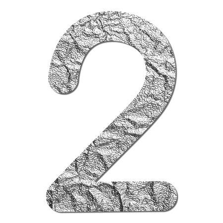 Font aluminum foil texture numeric 2 with shadow photo