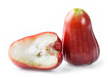 Close up Thai red rose apple isolated on white photo