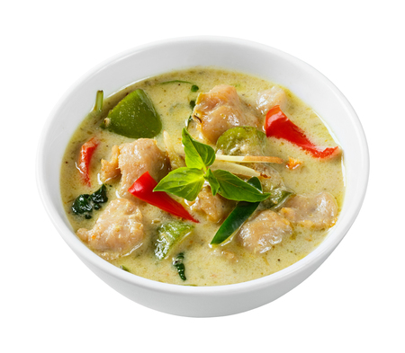 Close up clown knifefish ball green curry with sweet basil and chili - deep focus image with path photo