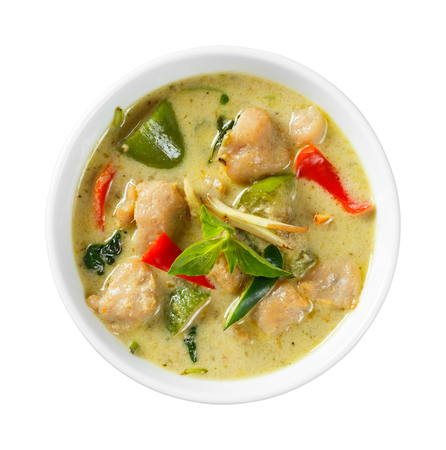 Close up clown knifefish ball green curry with sweet basil and chili - with path photo