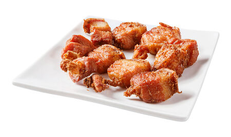 streaky: Close up deep fried streaky pork with herb - deep focus image with path