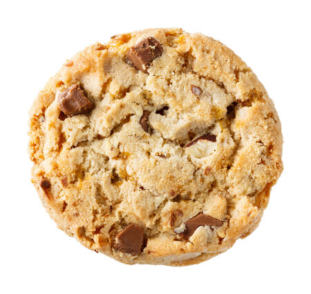 Close up chocolate chunk and almond crispy cookie isolated on white photo