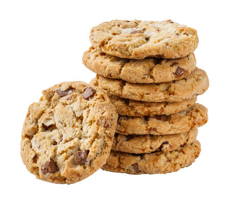Stack of chocolate chunk and almond crispy cookie isolated on white photo