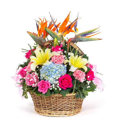 Close up bouquet of hydrangea - bird of paradise - Gypsophila - rose - carnation - polyscias - lily flower bouquet in wicker basket isolated on white photo