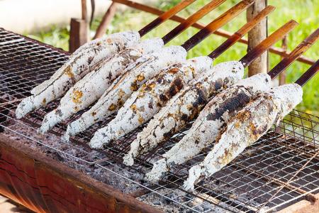 snake head fish: Primo piano di pesce snakehead alla griglia ricoperto di sale marino su stufa a carbone Archivio Fotografico
