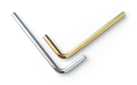 plating: Close up old and dirty yellow zinc plating hex keys or wrench isolated on white - deep focus image with path - stacked photo