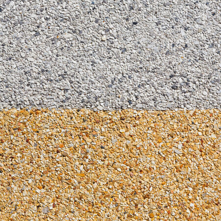 Close up gray and yellow color rough gravel floor photo
