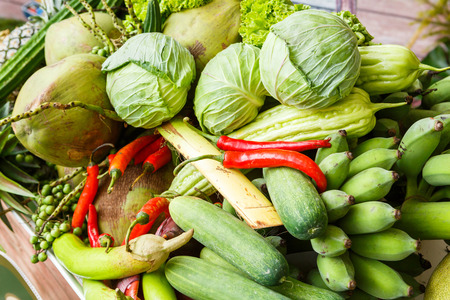 Close up heap of Thai vegetables and fruits  photo