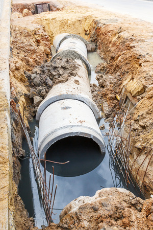 Close up sewer installation in city