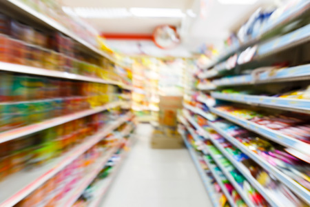 Blurry convenience store shot by moving camera with slow shutter speed
