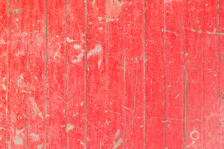 painted wood: Close up old and weathered red color wooden wall texture