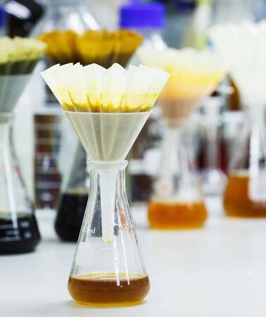papel filtro: Muestras de alimentos filtro despu�s de mezclar o aplastados con filtro plegado y embudo en frasco