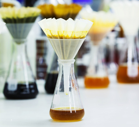 Filter food samples after blended or crushed with fluted filter paper and funnel on flask Фото со стока
