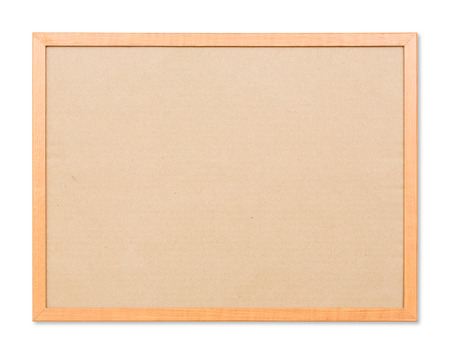 Close up blank notice board isolated on white with path